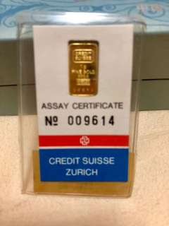 1gm Credit Suisse Gold Bar in Mint Packaging