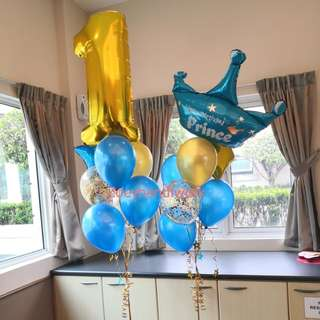 Little Prince Birthday celebration balloon clusters