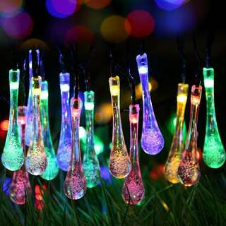 Uping Solar Powered LED Fairy Lights 8 Mode String Light 30 Water Drop 6.5M