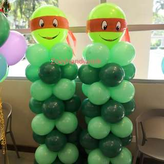 Ninja turtles themed balloon decoration for all kinds of boys' celebrations even for baby shower or 100 days celebrations