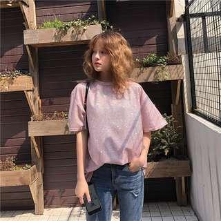 PO Glitter Sequin Short Sleeve T-Shirt 2 Colour