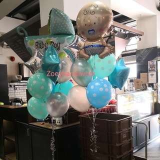 Baby shower balloon clusters