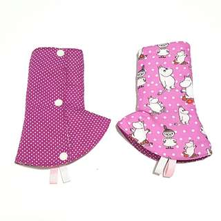Curved / Corner Teething Drool Pads Moomin Friends Purple Polka Dots Fits most baby carriers