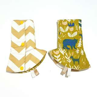 Curved / Corner Teething Drool Pads Fable Bear Forest Mustard Fits most baby carriers