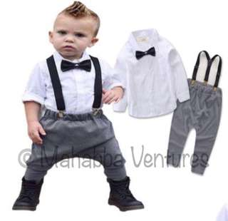2 pieces baby gentleman hipster set, flower boy