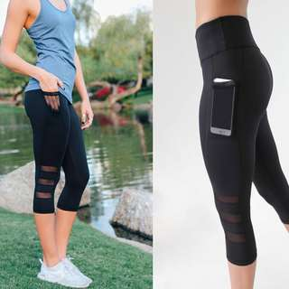 Mesh Leggings Activewear Capri Pants/Leggings with Pocket