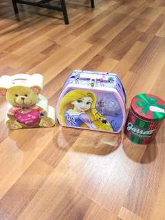 Piggy bank, lunchbox & canister