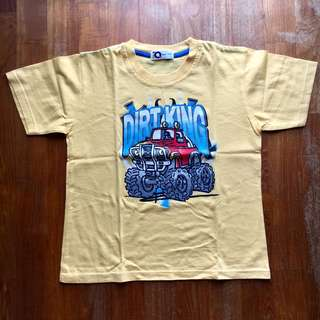 Yellow short-sleeved tee with monster truck graphic