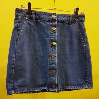 M-XL Denim button down skirt