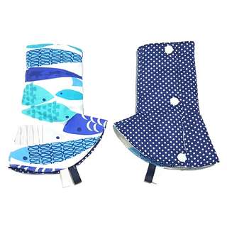 Curved / Corner Teething Drool Pads Mod Fish Navy Polka Dots Fits most baby carriers