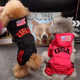 88雜貨鋪 寵物衣服 加絨USA連帽衛衣四腳衣 貓狗衣服 馬爾濟斯/貴賓/博美/吉娃娃