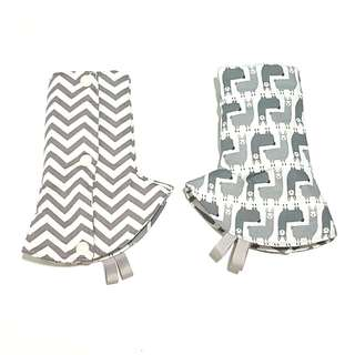 Curved / Corner Teething Drool Pads Alpaca Grey Chevron Fits most baby carriers