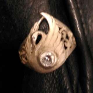 925磨沙銀水晶戒指