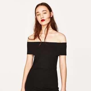 Zara Black Dress with Bardot Neckline
