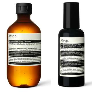 Aesop Geranium Leaf Body Cleanser and Protective Body Lotion