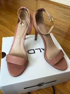 Aldo Pink Snakeskin Strappy Heels Size 6.5