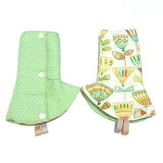 Curved / Corner Teething Drool Pads Mint Green Dots Fan Feathers Fits most baby carriers