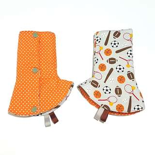 Curved / Corner Teething Drool Pads Sports Ball Orange Polka Dots Fits most baby carriers