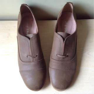 Leather oxford slip-on shoes