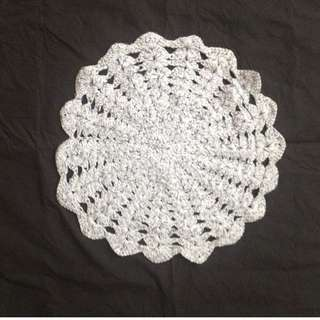 Grey crochet  table cloth