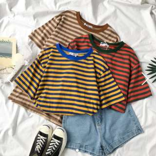 Instock Color Striped Oversized Basic Top Tee Shirt Ulzzang