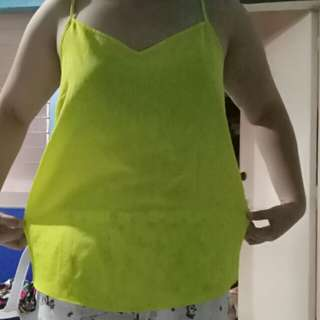 Neon yellow green spaghetti strap top