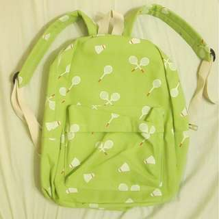全新-羽球圖案後背包(淺綠色)