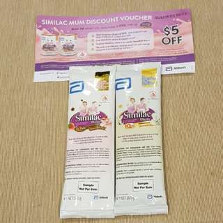 Similac mum 2 x 36.5g sample pack and $5 voucher