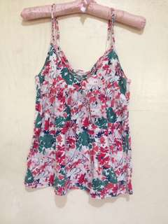 Floral top with maong vest