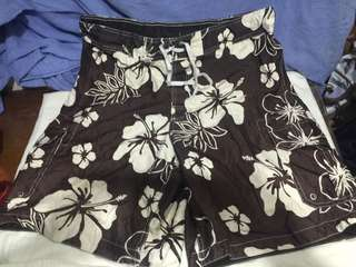 MERONA brown floral plus size men swimming/board shorts W40