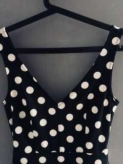 H&M navy blue polka low back peplum dress