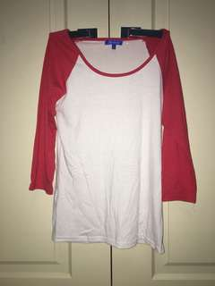 Red and white long sleeve top