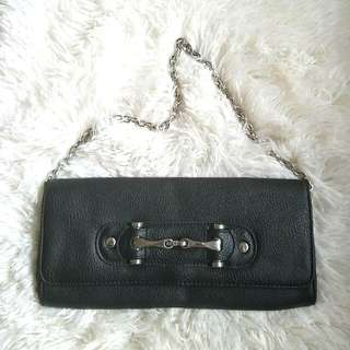 Aldo Black Faux Leather Clutch with Metal Buckle on Flap