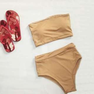 BNew Highwaisted Nude Swimsuit
