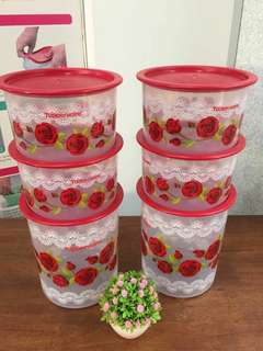 Tupperware Royal Red Rose One Touch Set