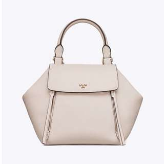 Tory Burch Half Moon Leather Satchel White