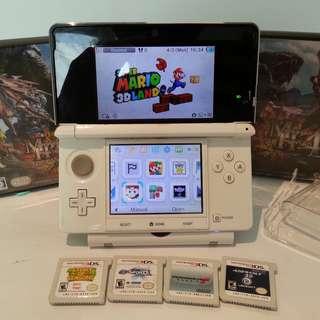 Nintendo 3ds Snow White (Modded) + 20 Games + Super Mario 3D Land