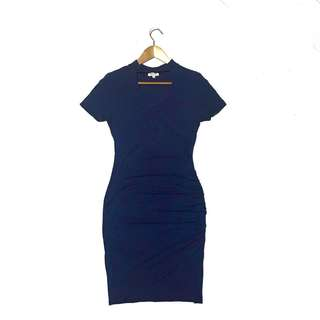 Choker Deep V asymmetrical Hem Bodycon Dress NavyBlue