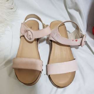Gibi Shoes Pink Wedge Sandals