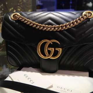 Gucci Marmont Matelasse Black in Small Size