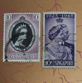 Singapore Queen Eliz and king George stamps 2v used