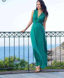 Seraphine emerald green maternity gown