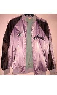 Violet Satin Bomber Jacket