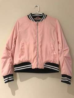Tempt - Baby Pink Silky Bomber Jacket