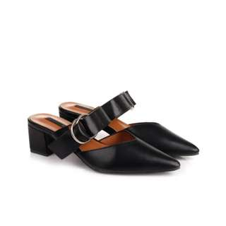 Bow bow black mules