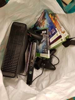 Xbox 360 Console + games+2 wireless control+2 wireless guitar +kinect