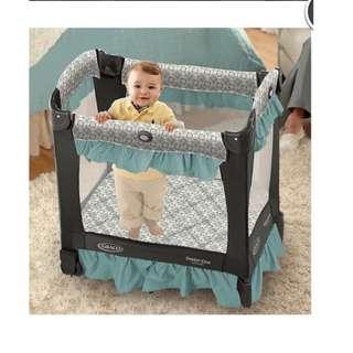 Graco Travel Lite Crib舒適嬰幼兒安撫遊戲床- 綠 網床
