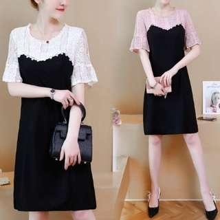 70872 #大碼拼接蕾絲修身連衣裙  尺码:L XL 2XL 3XL 4XL 5XL  颜色:白色 粉色