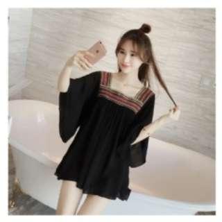 (R51083) 大碼拼接刺繡蝙蝠衫大碼雪紡衫(兩色)