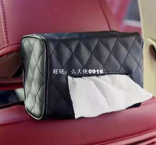 Tissue box holder with strap